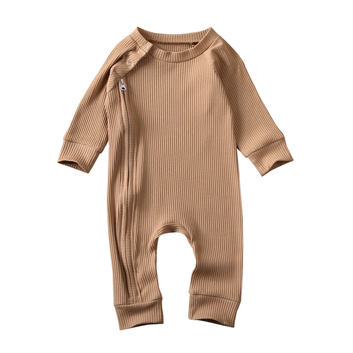 Infant Baby Girl Boy Solid Jumpsuit Long Sleeve Zipper Buttons Ribbed Jumpsuit Pure Cotton Jumpsuit Baby Round Neck Rompers