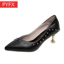 Autumn New Designer Rivet Fashion sexy Fine-heeled High Mature White-collar Women's Work black elegant Super High-heeled Shoes цена 2017