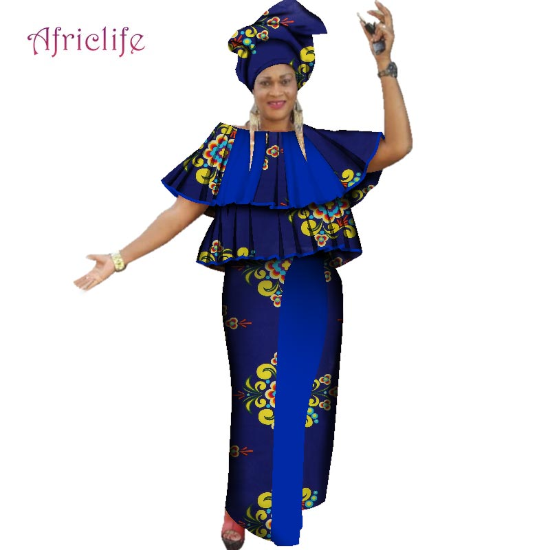 Dresses 100% Cotton African Fashion Kanga Lady Clohing Baize Riche Set Headwrap Gift African Traditional Women Clothes WY2269