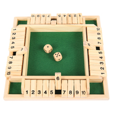 Four Sided 10 Numbers Shut The Box Board Game Wooden Flaps & Dice Set Deluxe Board Game Party Club Games for Adults Families