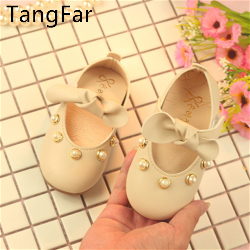 Toddler Leather Pearl Moccasins Cute Sweet Bowknot Baby Pink Loafers Autumn Girl Round Toe Shoes