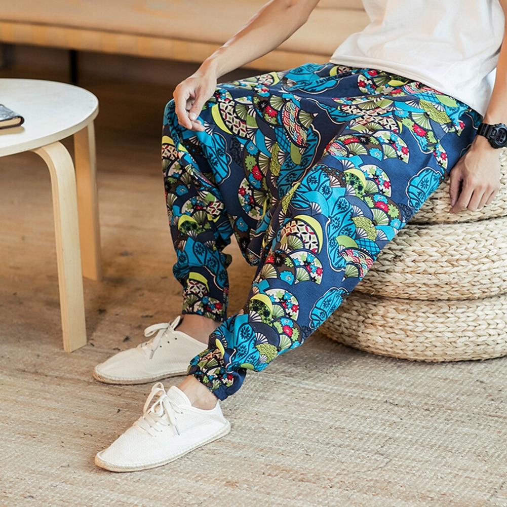 Модные мужские мешковатые Хлопковые Штаны-шаровары в богемном стиле, мужские брюки в стиле хип-хоп, широкие повседневные длинные брюки, винтажные кросс-брюки