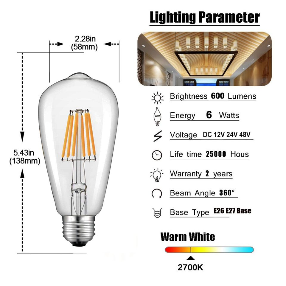 Edison Bulb ST58 Low Voltage DCAC12V24V DC AC LED Bulb Light Bulb Filament Lamp Clear 6W Light Source