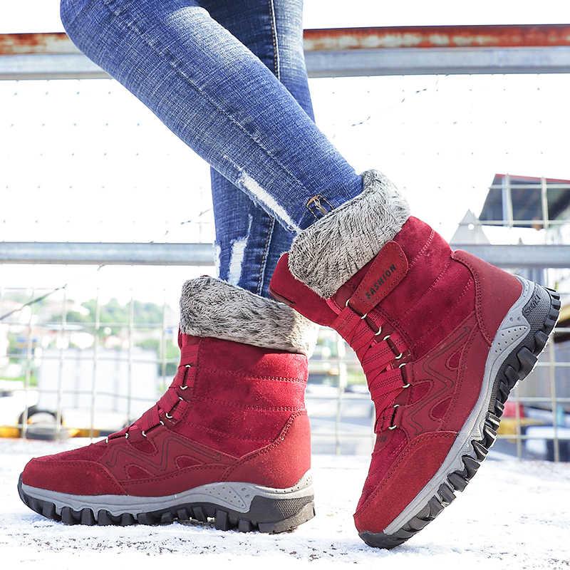 Valstone Orta buzağı kışlık botlar kadın sıcak tutmak ayakkabı kar botları Anti-skid Bayan kış ayakkabı Peluş ayakkabı 4 renk artı boyutu 42