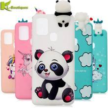 Na Coque Samsung Galaxy A21S przypadku 21S 3D jednorożec Panda pokrywa silikonowa na Samsung A21s A217F przypadku telefonu kobiety Fundas