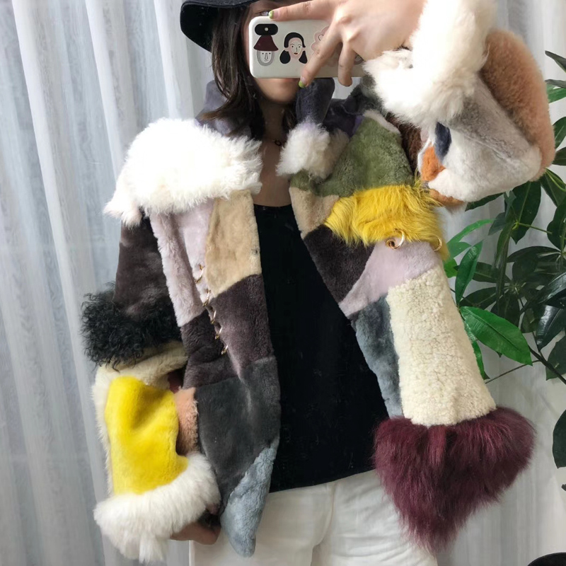 Natural Real Sheep Fur Coat Multicolor Genuine Leather Jacket Women Clothes Winter Lamb Fur Patchwork Parka Real Fur Thick Warm