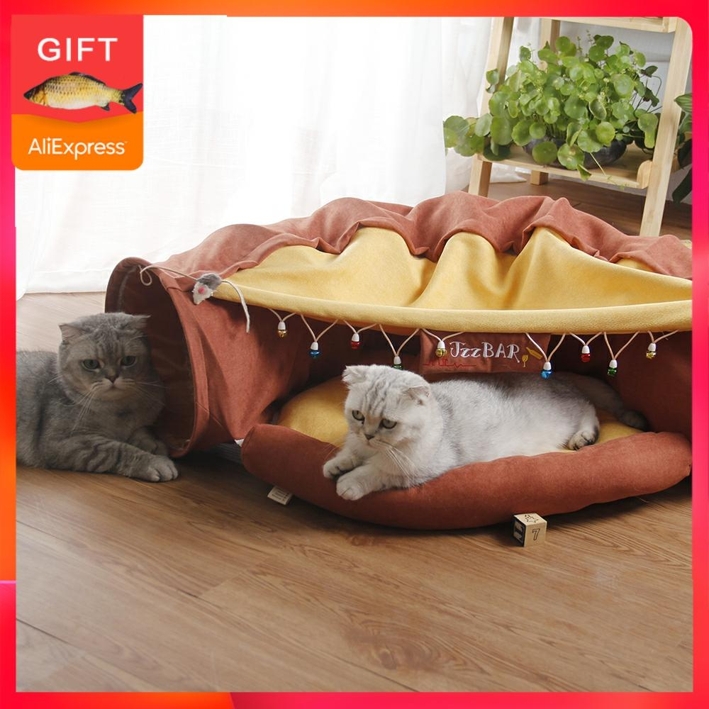 Pet Cats Tunnel Interactive Play Toy Mobile Collapsible Ferrets Rabbit Bed tunnels Indoor Toys Kitten Exercising Products image