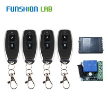 FUNSHION 433Mhz Universal Wireless Remote Switch DC 12V 1 CH Relay Receiver Module + 4PCS RF Transmitter 433 Mhz Remote Controls