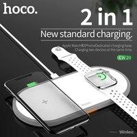 Hoco 2in1 original carregador sem fio para apple assistir carregador série 5 4 3 2 magnético para i-watch usb cabo carregador para iphone 11