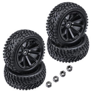 4-Pack 2.99 inch / 76mm Rubber 1:10 RC Rally Car Tires & Wheel Rims Set foam inserted M4 Locknut 12mm Hex Hub