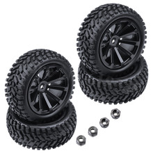 4-Pack 2.99 inch / 76mm Rubber 1:10 RC Rally Car Tires & Whe