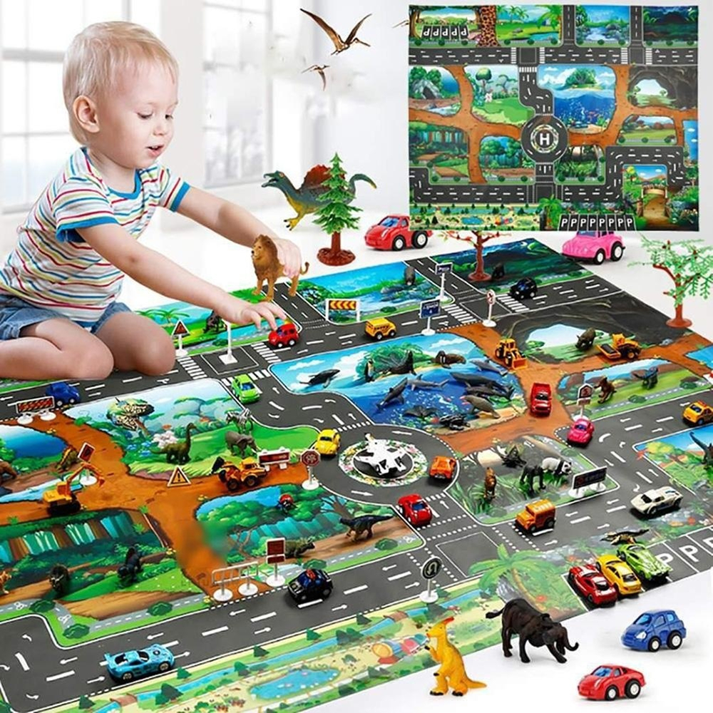 Traffic Routes Dinosaur Design Children Play Mat