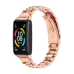Image 5 - עבור Huawei להקת 6 רצועת לכבוד להקת 6 רצועת חכם צמיד שעון החלפת חגורת צמיד מתכת יד אבזרים