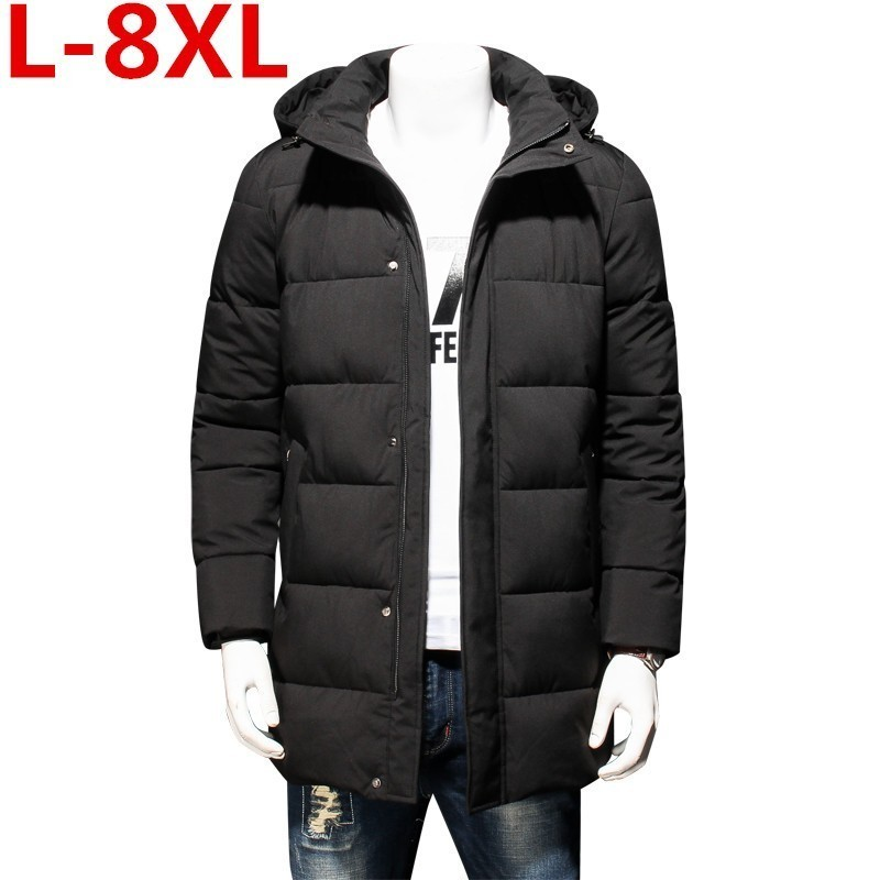 High Quality 8XL 7XL 6XL Men's Coat In Autumn Winter Cotton-padded Jacket  New Warm Casual Black Army Green Cotton-padded Jacket