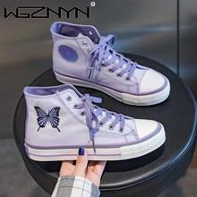 Purple Butterfly Embroidery Women Canvas Sneakers Tenis Feminino Espadrilles Girl Reflective Black Hip Hop Platform Sports Shoes