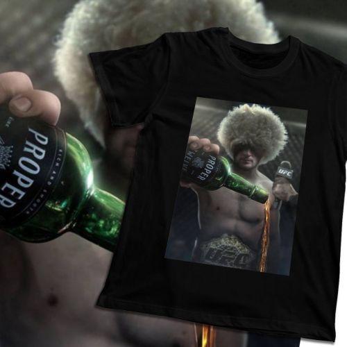Organnic Cotton For Man Khabib Nurmagomedov Epic UFC Conor Mcgregor Proper Whiskey Homme Tee Shirt Crazy Summer Male Tee Shirt