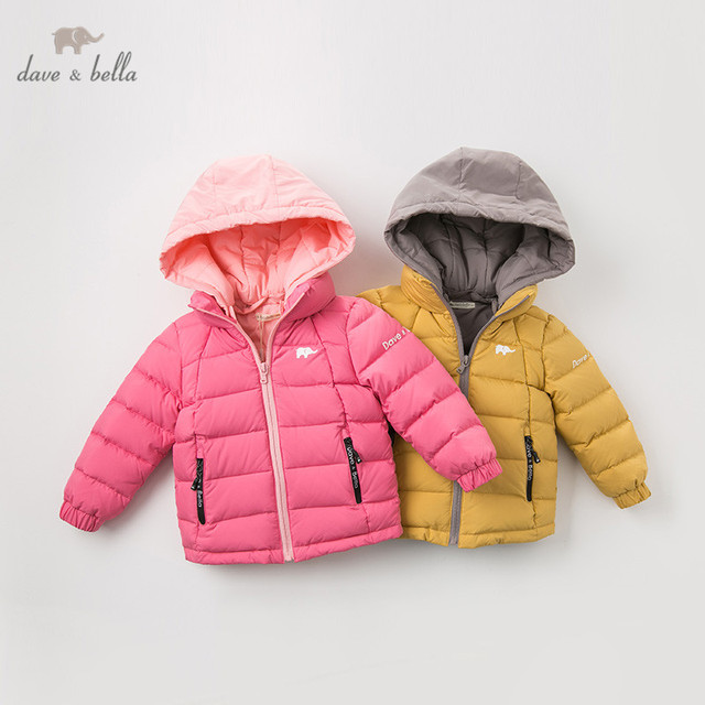 DB12011 dave bella winter baby down coat girls boys solid hooded outerwear children 90% white duck down padded kids jacket