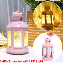 LED Lantern Night Light Pink Metal DIY Lampshade with Hook Hand Lamp Wind Lamp For Home Christmas Decor Battery Operated D30