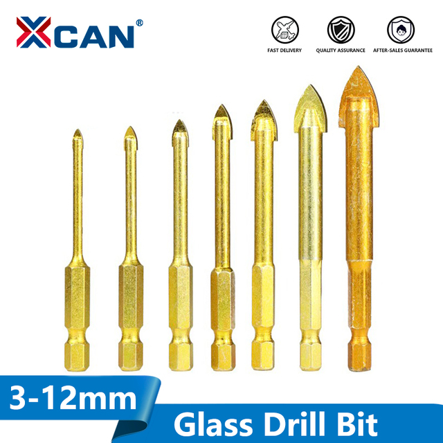 5 Pieces 1/4'' Hex Shank Tungsten Carbide TCT Glass Drill Bits Set Titanium Coated Power Tools Accessories Wall/Glass Hole Drill