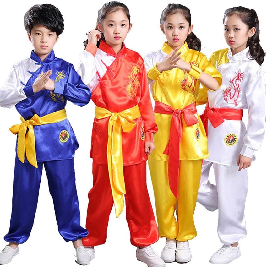 110-160cm Kung Fu Children's Day Wushu Clothing Tai Chi Uniform Hanfu Traditional Chinese Costumes For Kids Baby Girl Boy