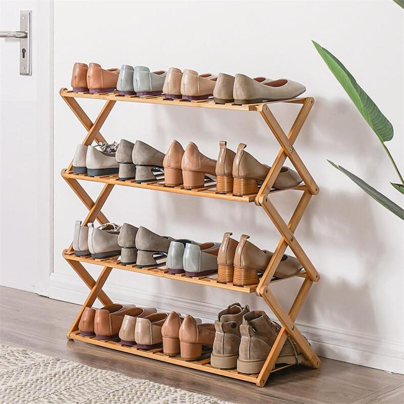 2019NEW Bamboo Shoe Rack Organizer Doorway Hallway Shoe Shelf Holder 2/3/4/5/6 Layers Foldable Shoes Storage Rack Shoe Cabinet