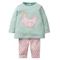 Meninas conjuntos de roupas com apliques animais 2018 marca outono roupas da menina do bebê crianças voltar para a escola roupas conjunto agasalho
