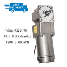DC 12V 24V 90V Gearbox Motor 120W with 5GURA Gear Head Right Angle Gear 6-600rpm Speed Optional High Torque CW CCW Gear Motor
