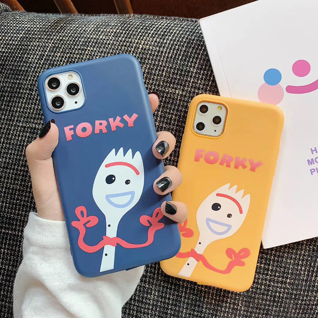 Cute cartoon <font><b>toy</b></font> <font><b>story</b></font> funny smiley small fork phone case for <font><b>iPhone</b></font> 11 pro MAX Xs MAX Xr X 6 <font><b>6s</b></font> 7 8 plus soft TPU back cover image