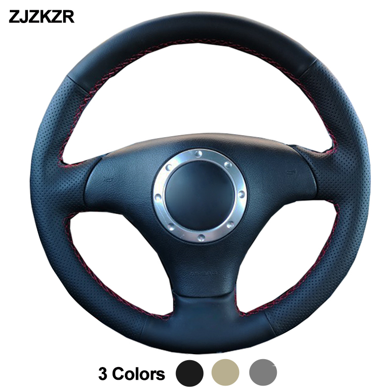 Car Auto Steering-Wheel Cover For <font><b>Audi</b></font> A2 8Z A3 2000-2005 8L Sportback A4 B6 Avant A6 C5 <font><b>A8</b></font> <font><b>D2</b></font> TT 2001-2006 8N S3 S4 RS 4 RS 6 image