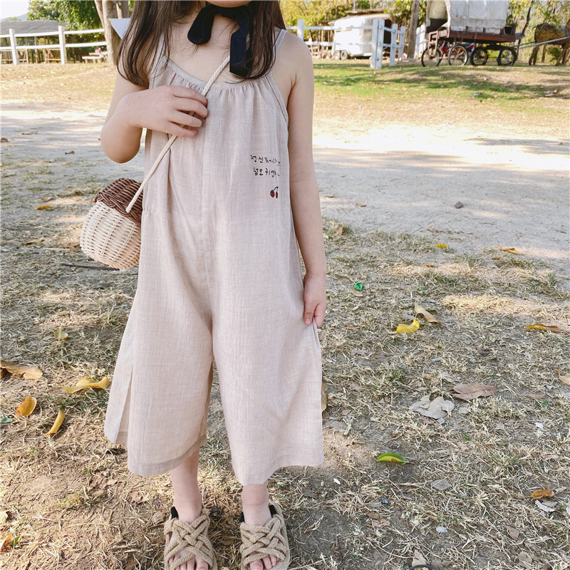 3386 2020 Children's New Girl's Korean Cotton Suspender Jumpsuit Wide Leg Pants Cherry Girls Summer Belt Pants Overalls