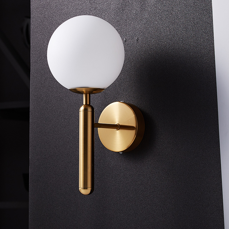 H3afeef832f1449d6bedd93c352d39773j - Decorative Led Wall Lights Fixtures Nordic Glass Ball Wandlamp Up Down Bathroom Mirror light Gold Black Modern Round Wall Lamp
