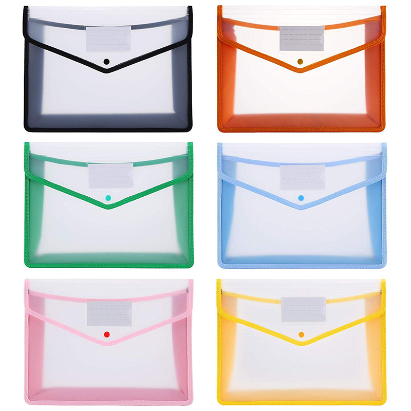 Plastic A4 File Folders Large Capacity Wallet Document Bag Popper Wallet Envelope Folders For Office Home School Travel Pvc Bag