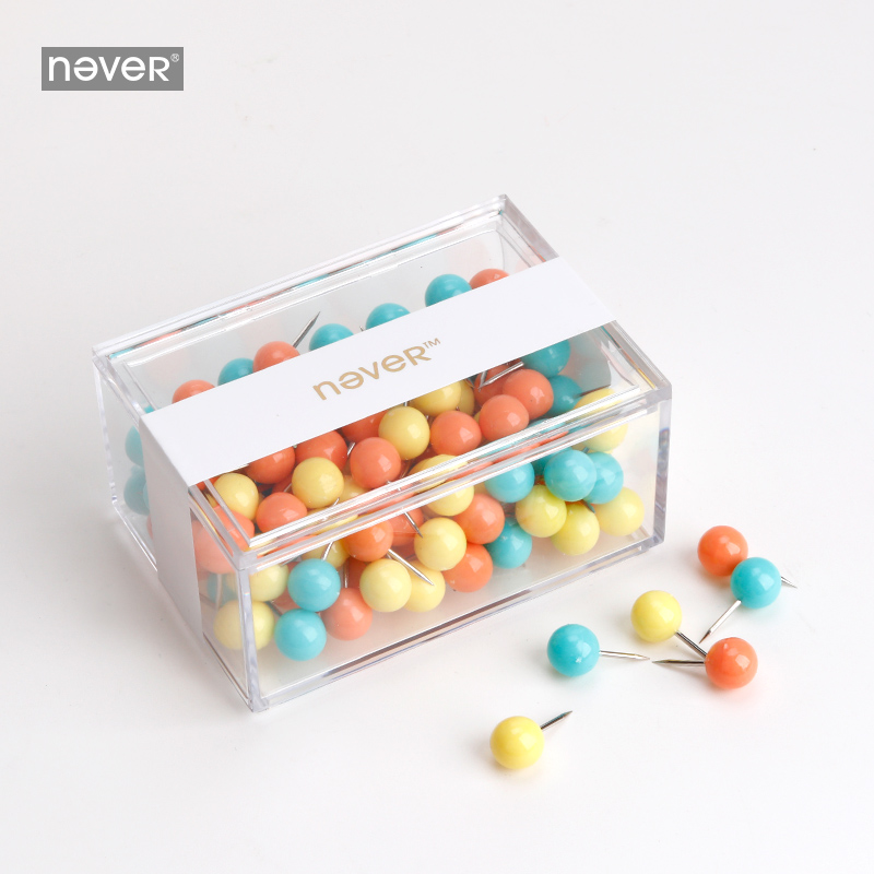 Never Pushpin Photo Wall Cork Nail Press Pin Big Head Nail Color Mix Pack Push Pin Draw Rainbow Push Pins Office Accessories