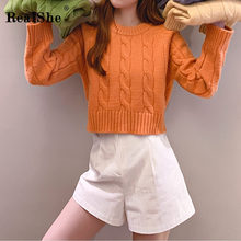 RealShe Autumn Sweater Women 2019 O-Neck Long Sleeve Fall Sweaters for Casual Elegant Winter Cashmere