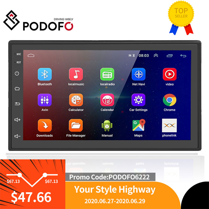 Podofo 2 Din Android Car Multimedia Video Player 2G RAM Universal 2DIN Stereo Car radio For Volkswagen Nissan toyota Ford LADA