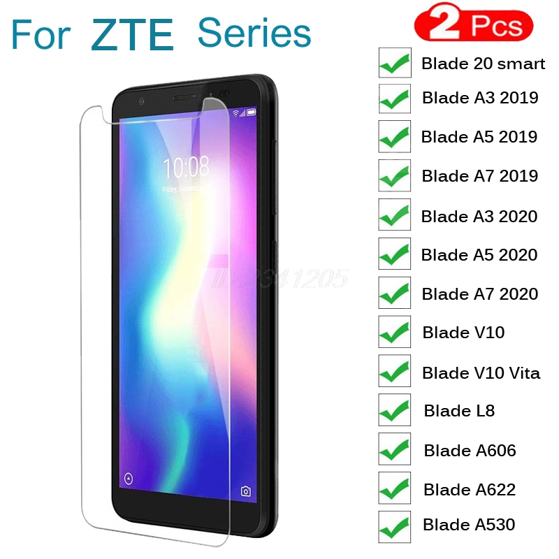 2PCS Tempered Glass For ZTE Blade 20 Smart A3 A5 A7 2019 2020 A622 L8 V10 Vita A530 GLASS Protective Film Screen Protector Cover