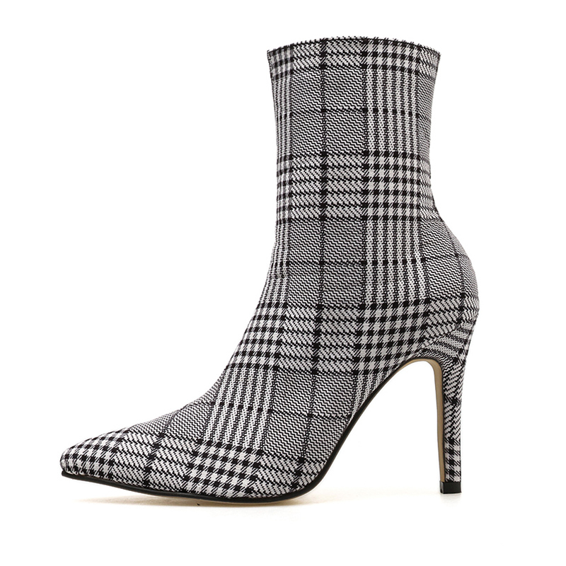 2019 Women 9cm High Heels Fetish Knitting Stripper Knight Boots Chelsea Heels Ankle Plaid Socks Boots Scarpins Stiletto Shoes