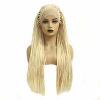 Micro Braided Blonde 613 Long Synthetic Hair Lace Front Wigs Heat Resistant Fiber Replacement Wig With Baby Hair For Black Women