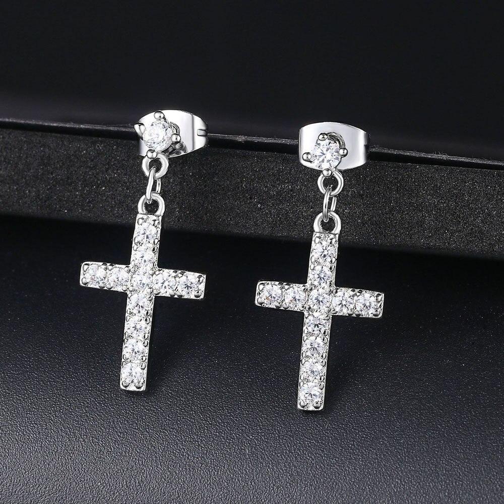 Новые циркониевые серьги подвески с крестом, модные ювелирные изделия для женщин, оптовая продажа, в стиле панк|Серьги-подвески|   | АлиЭкспресс