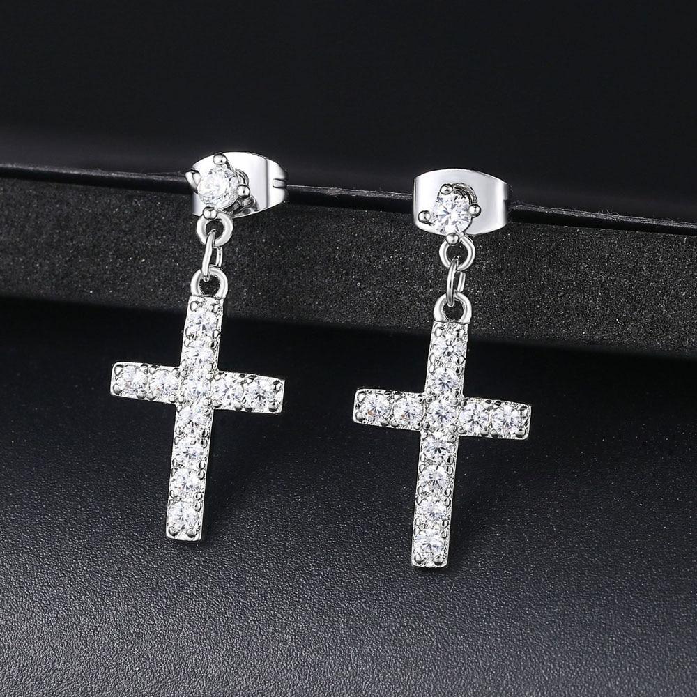 New Zirconia Cross Drop/Dangle Earrings Fashion Jewelry For Women Wholesale Punk Style