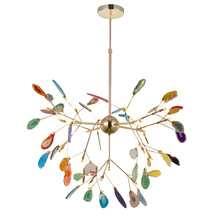 Franse Land Natuurlijke Agaat Bladeren Kroonluchter Ronde Opknoping Licht Creative Globe Gekleurde Kroonluchter Verlichting Voor Foyer Keuken