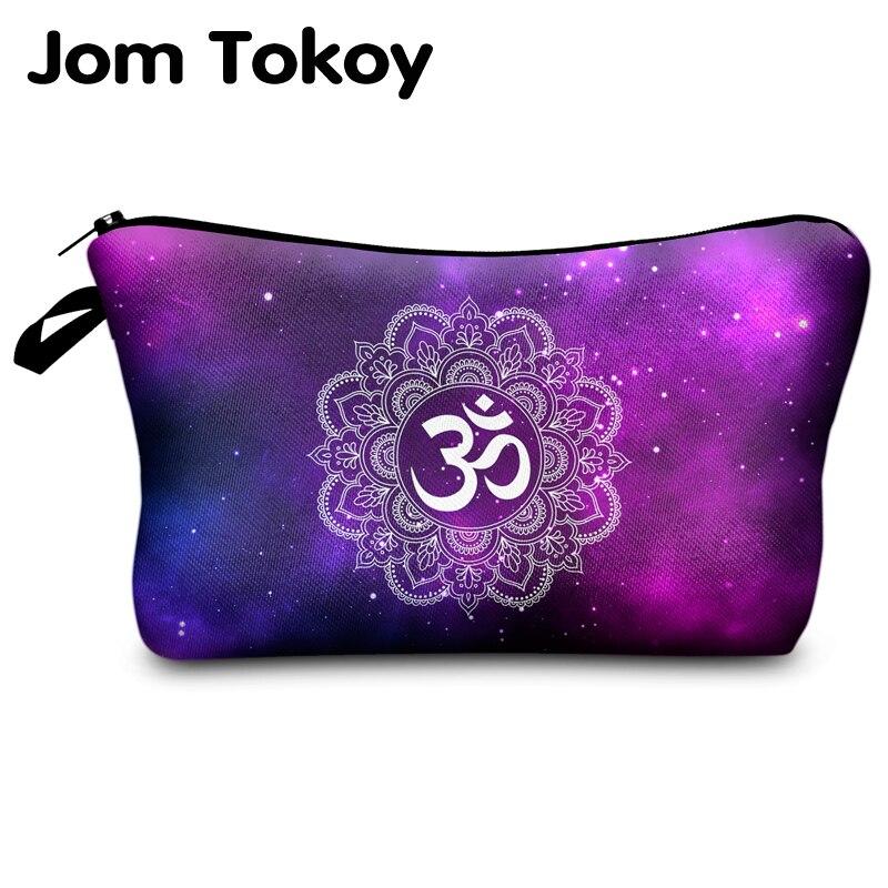 Jomtokoy Women Starry Sky Mandala Printing Pattern Cosmetic Bag Handbag Female Zipper Purse Small Make Up Bags Travel Beauty Bag