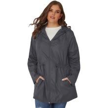 Raincoat Jacket Women's European Version of 2019 Cardigan Zip Long-Sleeve Large GIRL'S Plus-sized Jacket Hooded Jacket