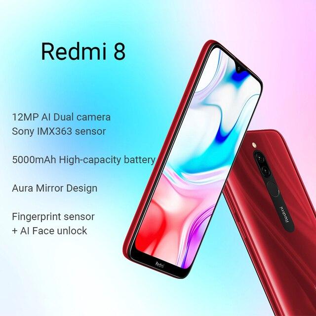 Global Rom Xiaomi Redmi 8 3GB 32GB Snapdragon 439 Octa Core Cellphone 12MP Dual Camera 5000mAh Large Battery Mobile Phone 2