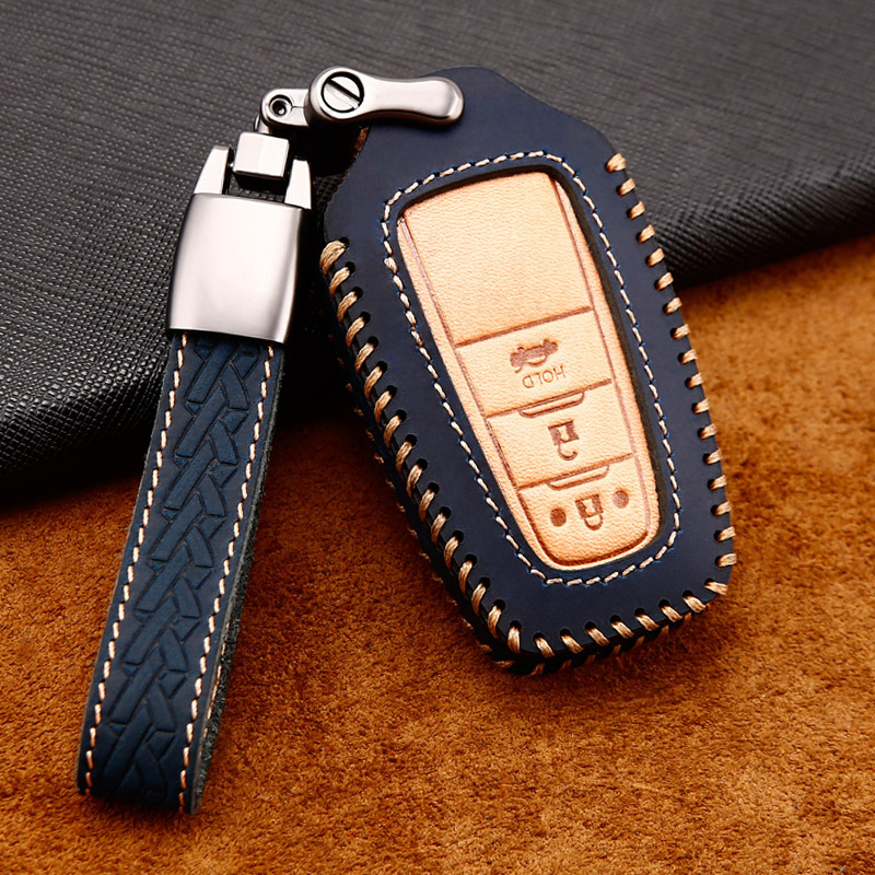 Car Handmade Leather Key Case Cover Chain For <font><b>Toyota</b></font> CHR C-HR Prado 2017 <font><b>2018</b></font> Prius Camry Corolla <font><b>RAV4</b></font> <font><b>2018</b></font> <font><b>Accessories</b></font> image