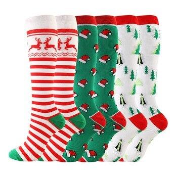 Men Women Christmas Cap Tree Deer Socks Knee High/Long Compression Striped Printed Outdoor Sport Long New