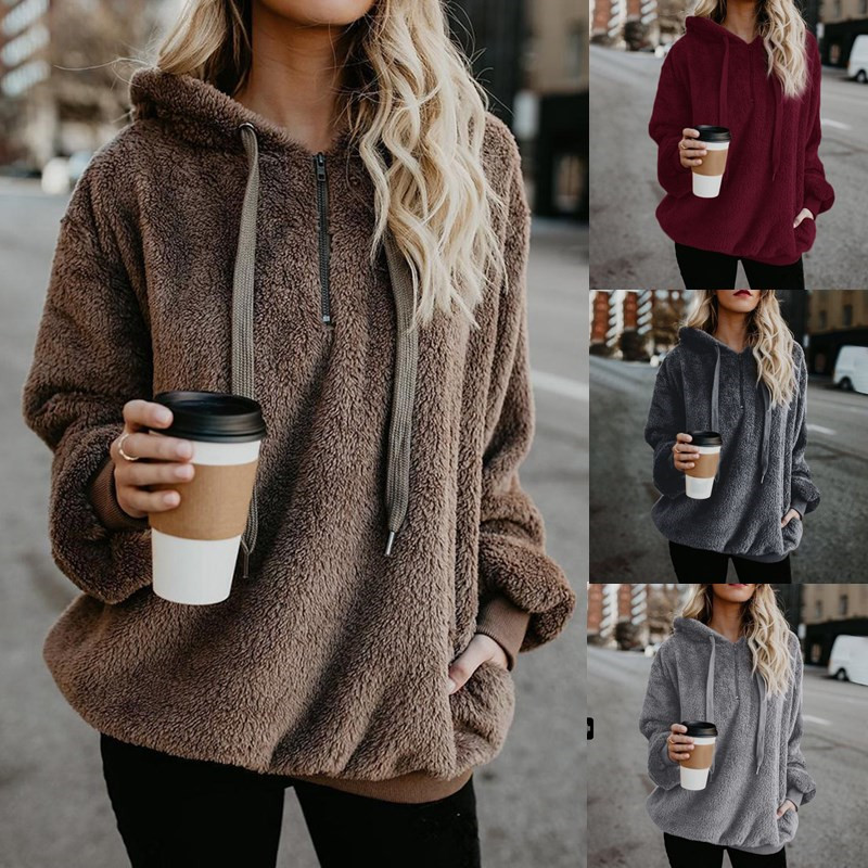 Fleece Hoodies Zipper Hooded Pullover Sweatshirt Female Winter Pocket Warm Faux Fur Fluffy Oversized Sweatshirts Plus Size 5XL
