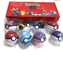 8 pçs pokeball + 8 peças figuras pokemon original brinquedos bola com figura modelo brinquedos para crianças com caixa