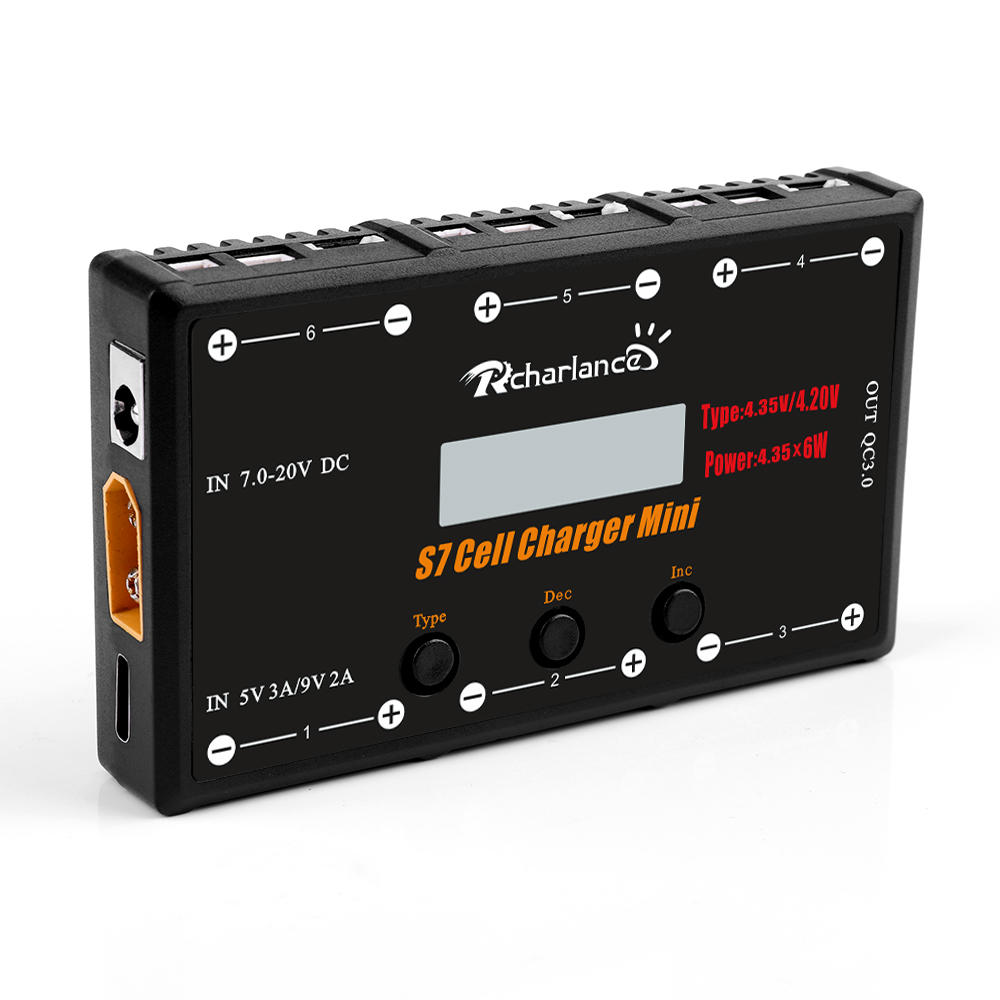 Rcharlance S7 CELL CHARGER MINI 1S Battery Charger 6x4.35W LiPO LiHV Battery Charger With USB Micro MCX mCPX MOLEX image