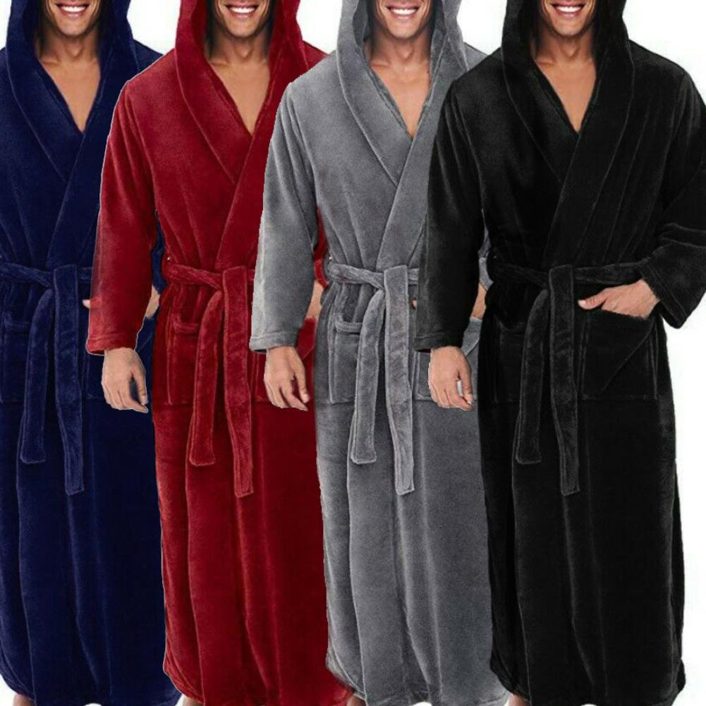 Men Soft Co-ral Fleece Solid Color Pockets Long Bath Robe Home Gown Sleepwear Nightwear Men's Pajamas